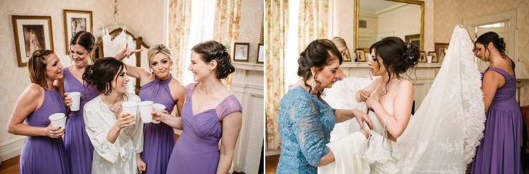 Bride gets ready with mom and bridesmaids at Cairnwood Estate.