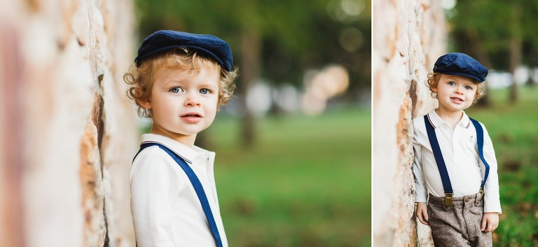 little boy poses for portrait in Washington Crossing, PA family portrait session