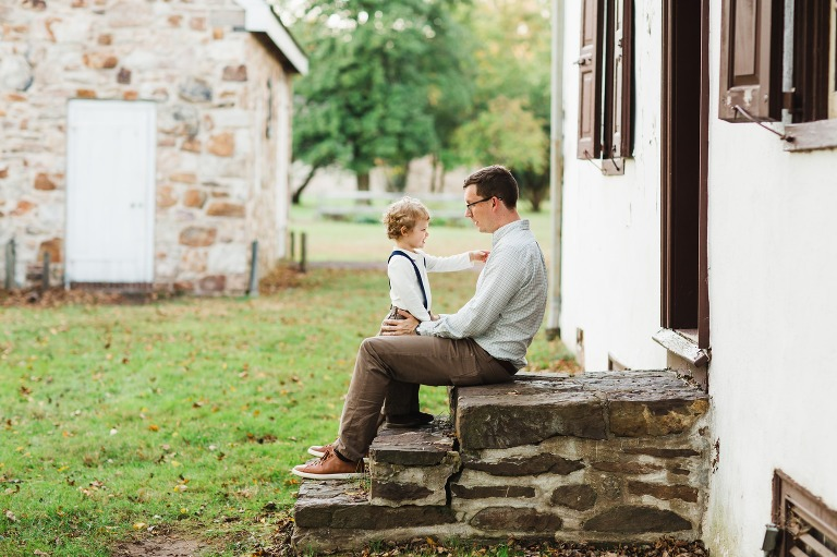 dad and son at Washington Crossing PA family photography session