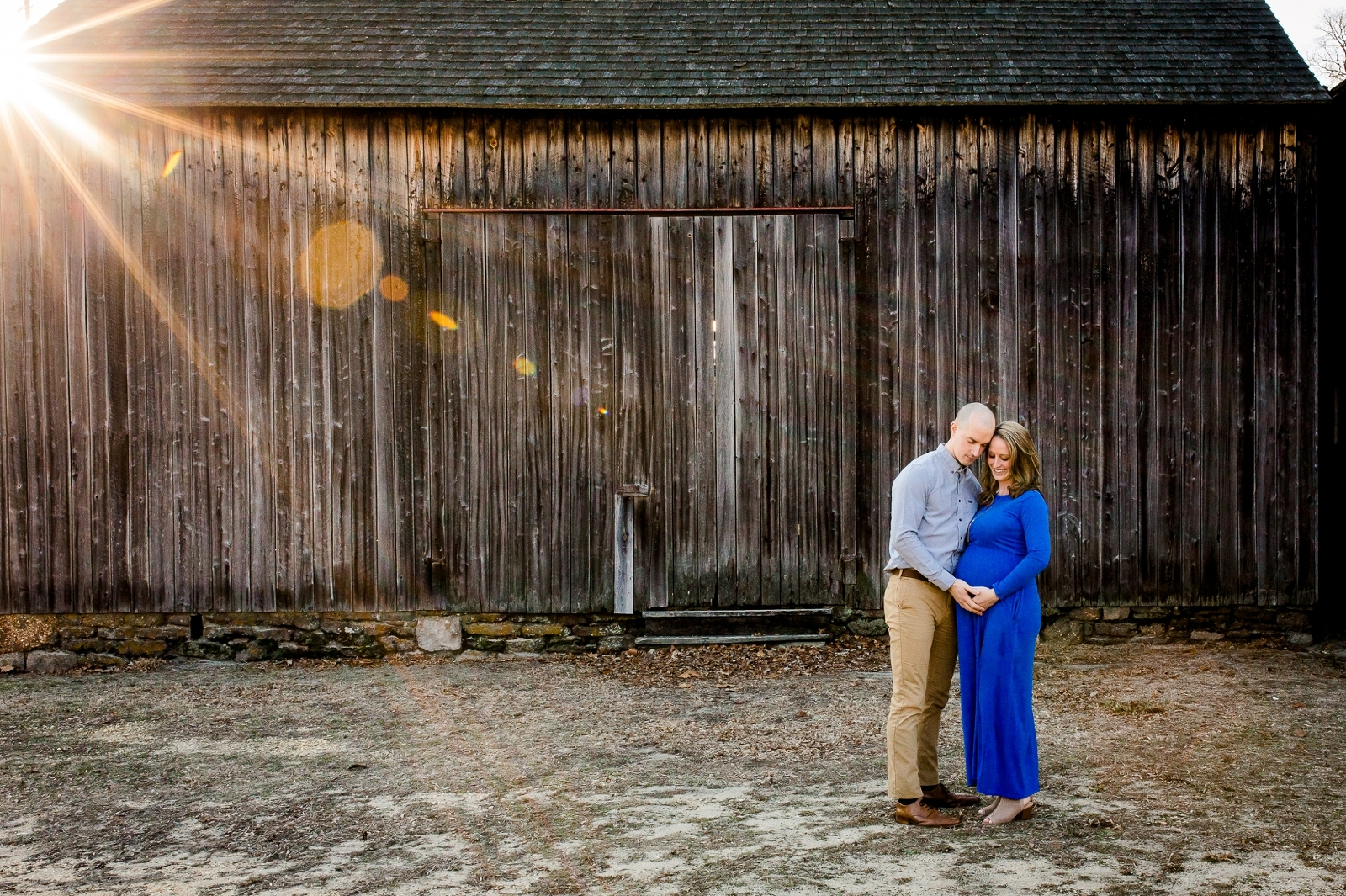 Golden hour is beautiful at rustic Batsto Village maternity session.