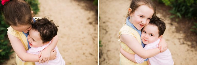 Brother and sister hug at Belmar beach family session