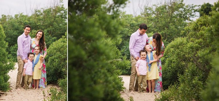 Family poses in greenery at Belmar Beach family session with Kaleidoscope Imagery